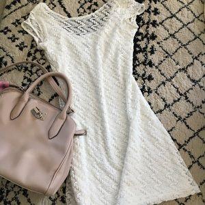 Apt9 White Lace Lined Dress